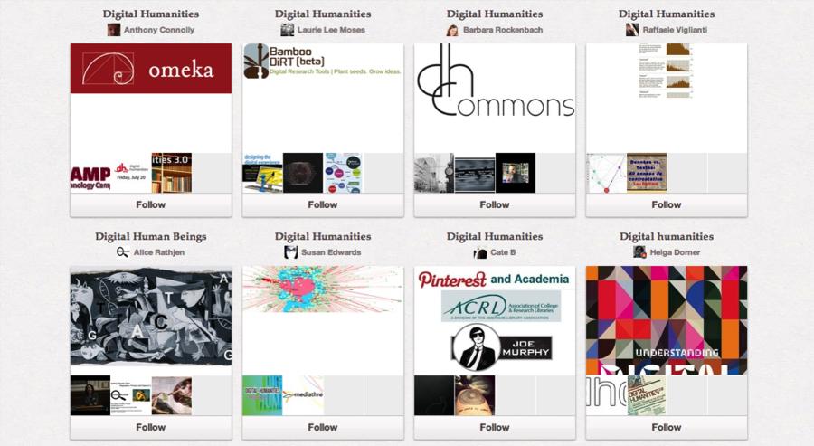 Pinterest Boards Tagged Digital Humanities Screenshot