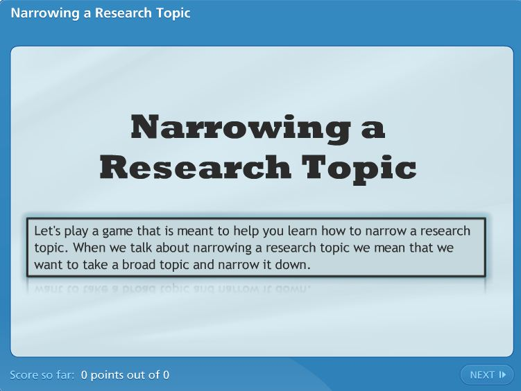 Narrowing a Topic link