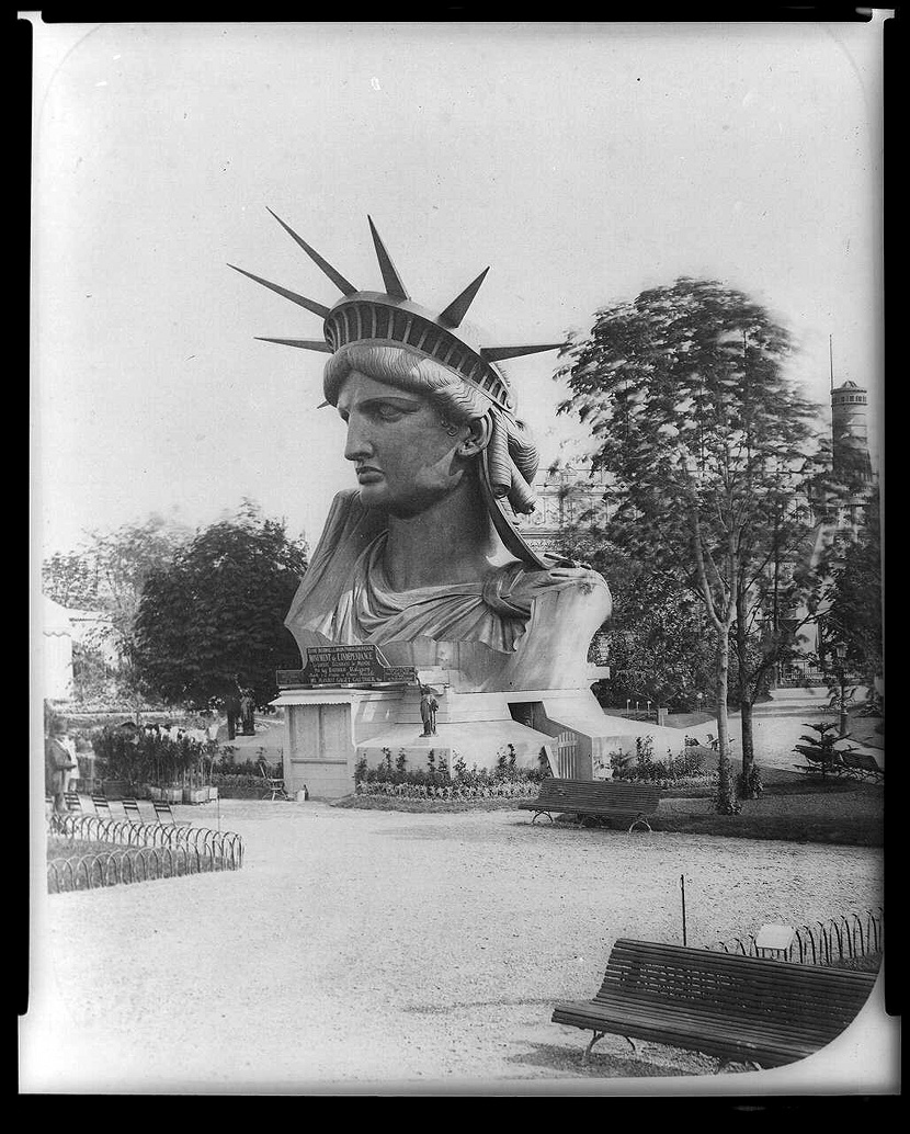 Image of head of Statue of Liberty Paris 1883.