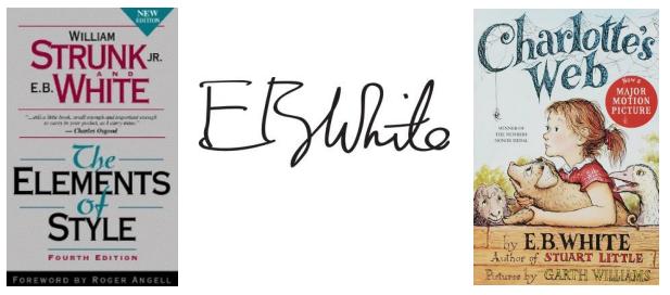 E.B.White books covers and signature