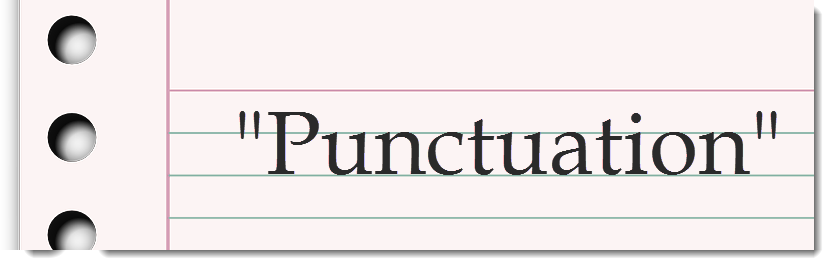 punctuation spelled out on notepaper