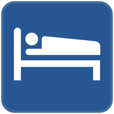 Symbol of person sleeping in bed