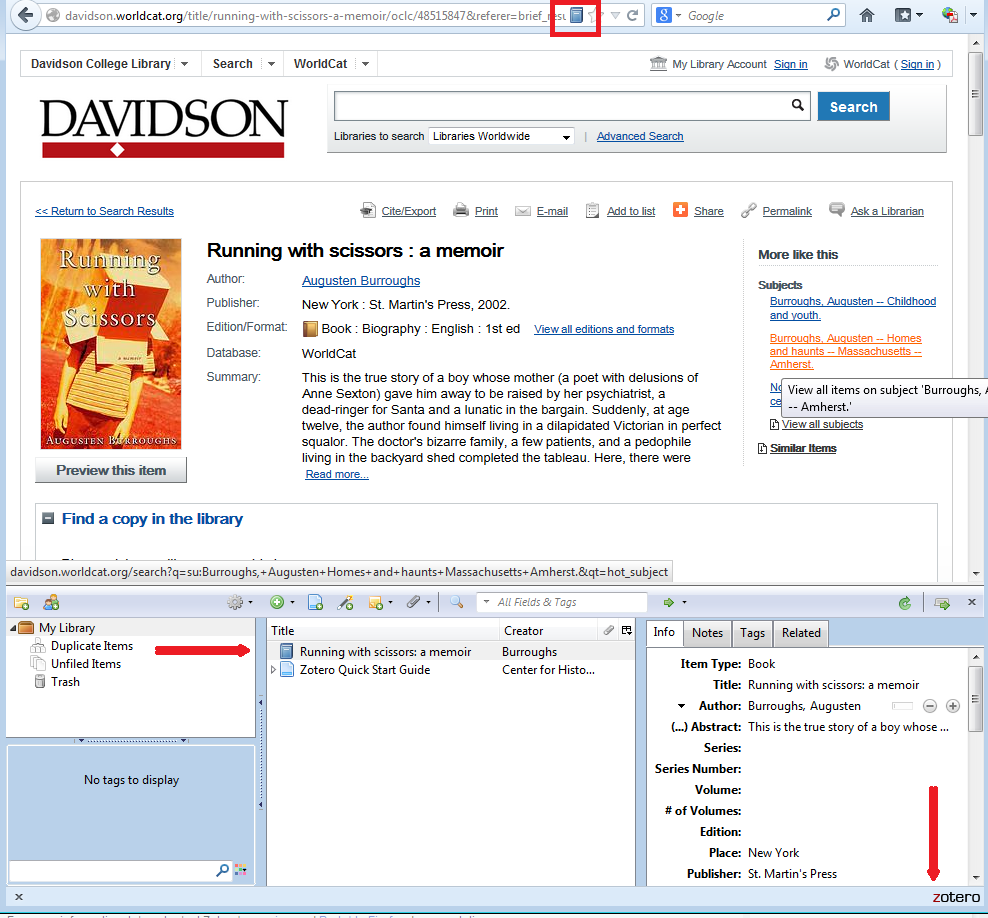 adding a book from the library catalogue to your Zotero library