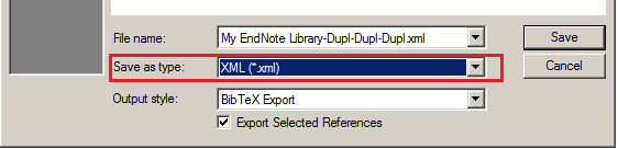 Selecting the XML file type when you export your Endnote Library