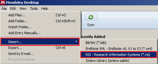 Selecting File then Import then RIS in Mendeley to import citations from Zotero