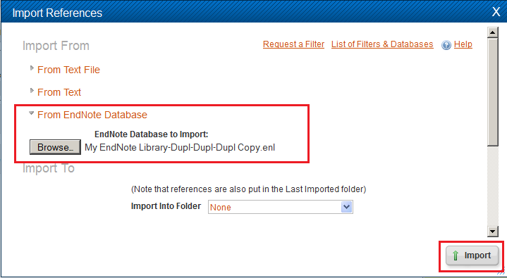 Selecting the From Endnote Database to import your Endnote citations into RefWorks