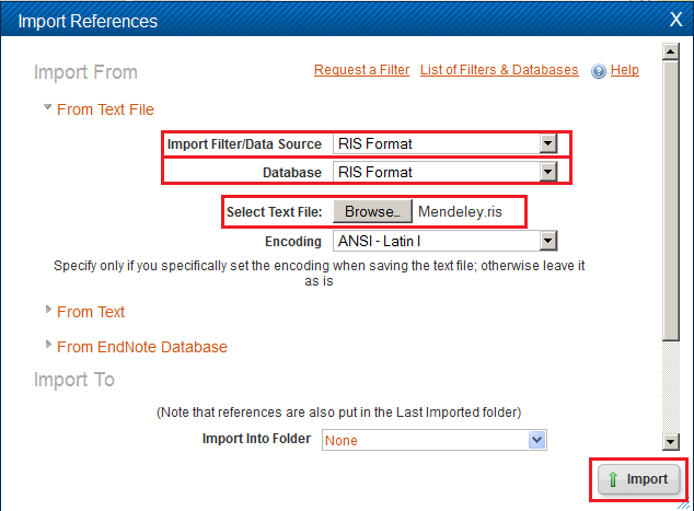 Selecting the RIS data source to import your Mendeley citations into RefWorks