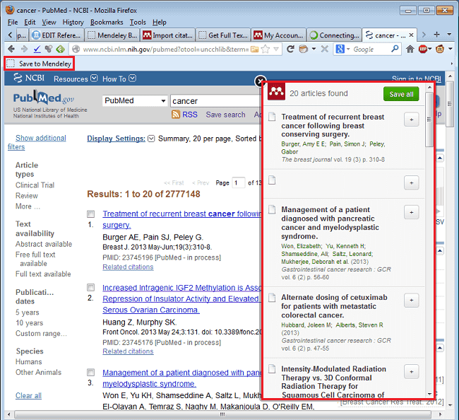 Importing references to Mendeley from PubMed