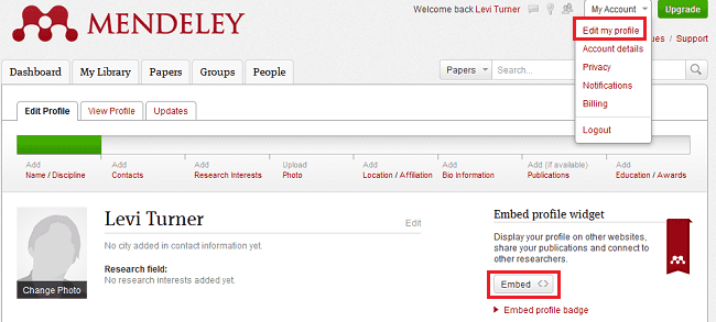Setting up a profile widget with Mendeley