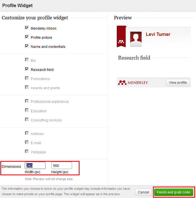 Customizing the profile widget using Mendeley