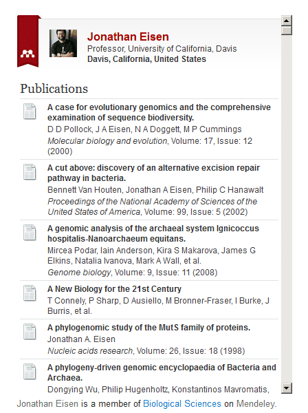 An example of a profile widget from Mendeley displaying your publications