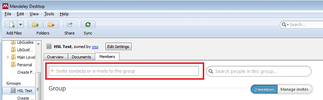 Managing groups in Mendeley