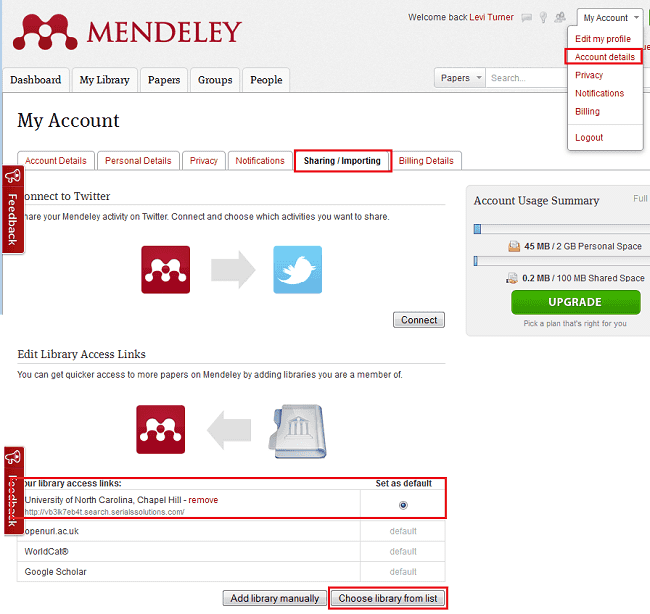 Adding UNC's databases to Mendeley