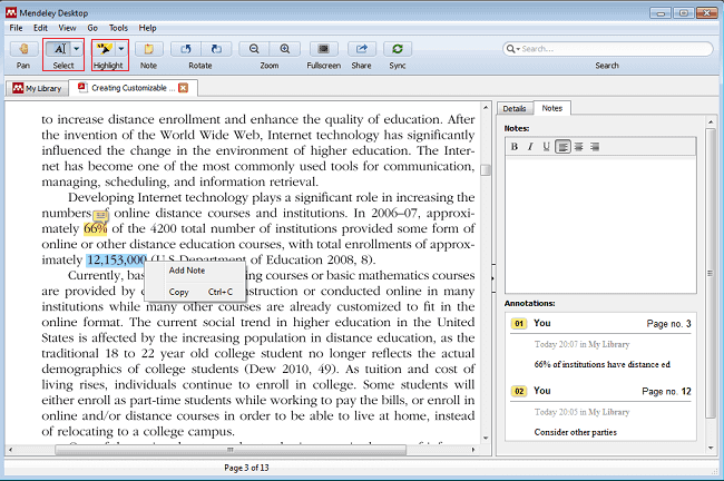 Notes and Highlighting in Mendeley