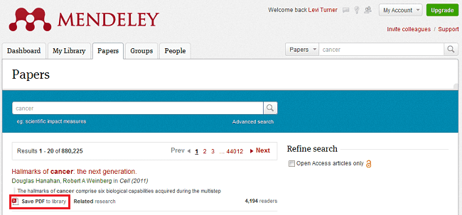Save PDF to library option in Mendeley's research catalog