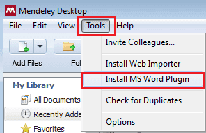 Installing Microsoft Word Plugin with Mendeley