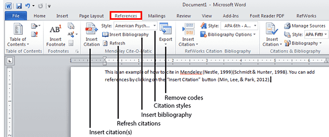 Writing and Citing with Mendeley in Microsoft Word
