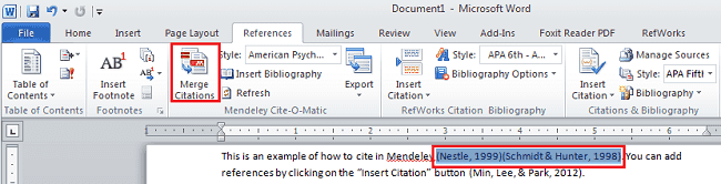 Merging citations with Mendeley in Microsoft Word