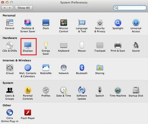 System Preferences in Mac for Dual Monitors Window