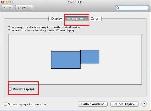 Arrangement of Displays on Macs for dual monitors