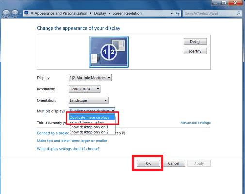 Dual screen options in Windows 7