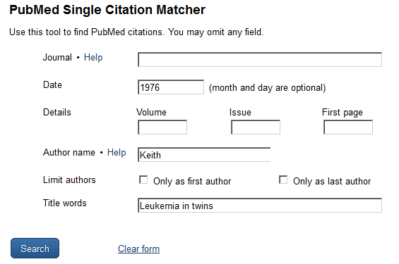 Using PubMed's single citation matcher