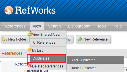 Clicking on View then Duplicates in RefWorks to remove duplicates