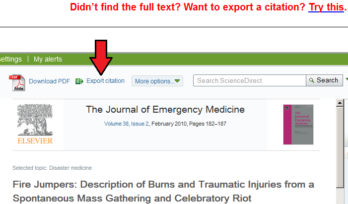 Direct article Export Option using the Find@UNC button on ScienceDirect