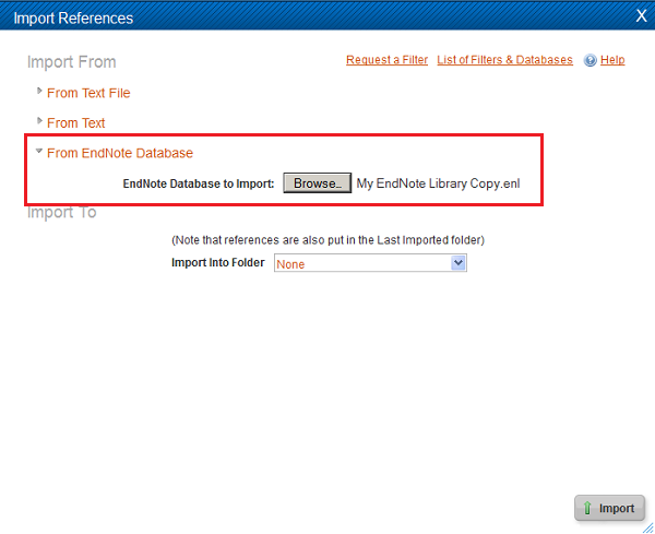 Importing from Endnote to RefWorks