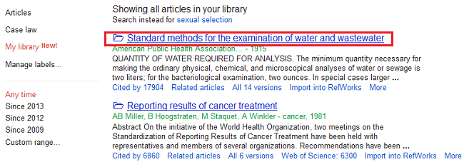 Removing a reference from your Google Scholar Library by clicking on the article's title
