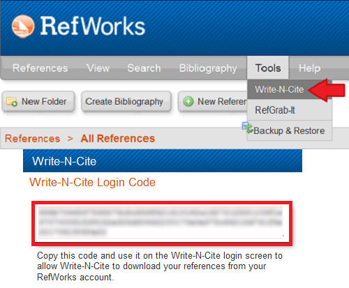 Login code in your RefWorks account that will sync your Write-N-Cite toolbar to your personal account