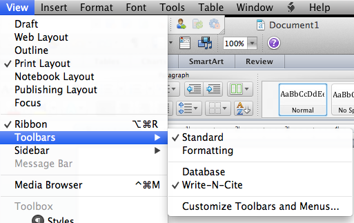 Enabling the Write-N-Cite toolbar in Microsoft Word for Mac