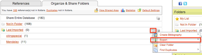 Clicking on the left folder inside of Organize and Share Folders in RefWorks to be able to export references by folder