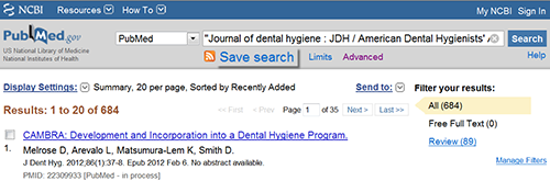 PubMed Save Search Link