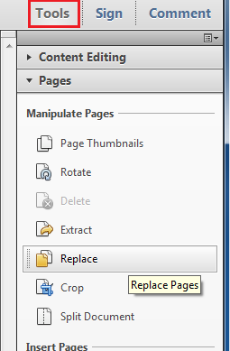 Tools section of Adobe Acrobat to rotate, crop or delete pages in your scanned PDF