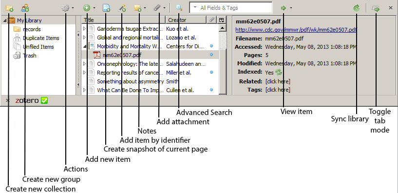 Main panel of Zotero, with descriptions of the buttons