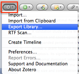 Clicking on your Gear Icon so you can open up Zotero's preferences