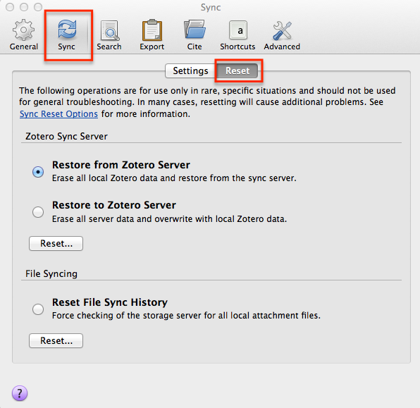 Editing Sync options in Zotero preferences to switch between accounts