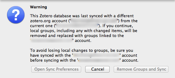 A warning that you will be over-writing your local Zotero library when switching accounts by resetting from Zotero server in the Reset sub-tab of Sync in Preferences