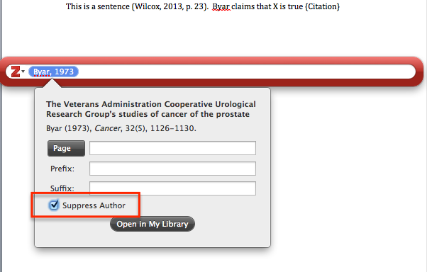 Suppressing author using Zotero's write and cite feature
