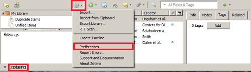 Opening the Zotero section and selecting preferences