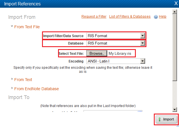 Selecting the RIS data source to import your Zotero citations into RefWorks