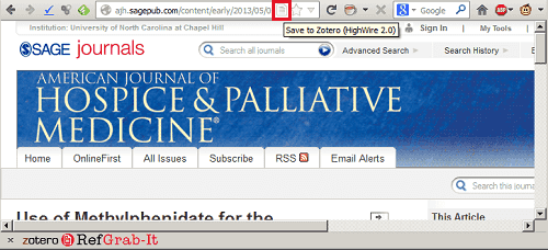 Recognized source icon in Zotero, taken from American Journal of Hospice and Palliative Medicine