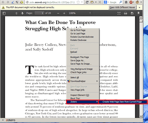Adding a reference to Zotero from a PDF
