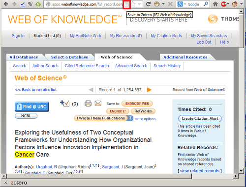 Recognized database icon in Zotero, taken from ISI Web of Science