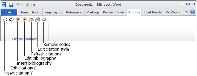 Add-Ins tab in Microsoft Word for Zotero's Write and Cite functionality