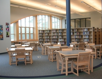 Picture of the Silver Lake Regional High School Library main reading area.