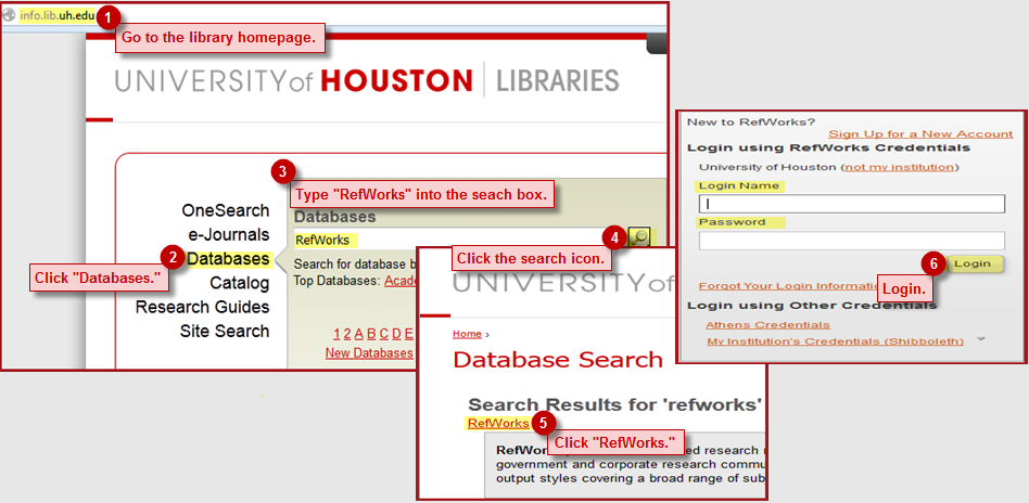 Screenshot displaying steps to access RefWorks online.
