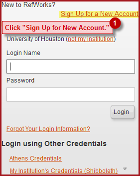 Screenshot displaying steps to create an account for RefWorks online.