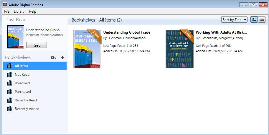 A screenshot of the bookshelf in Adobe Digital Editions